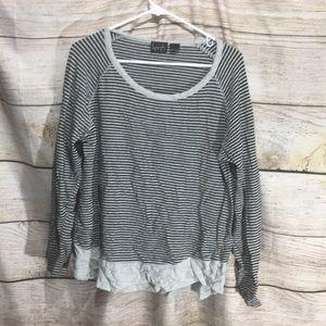 Kersh Large comfy black grey striped scoop neck